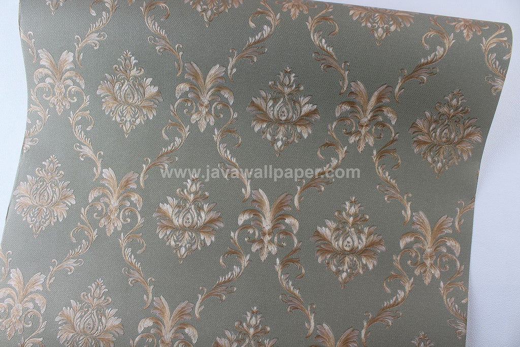 Wallpaper Dinding Batik Hijau Lumut Gold CL D1804-6 - Java Wallpaper