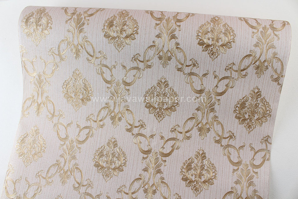 Wallpaper Dinding Batik Coklat Gold CL D1801-5 - Java Wallpaper
