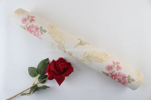 Wallpaper Dinding Bunga Pink Gold Cream CL D8008-5 - Java Wallpaper
