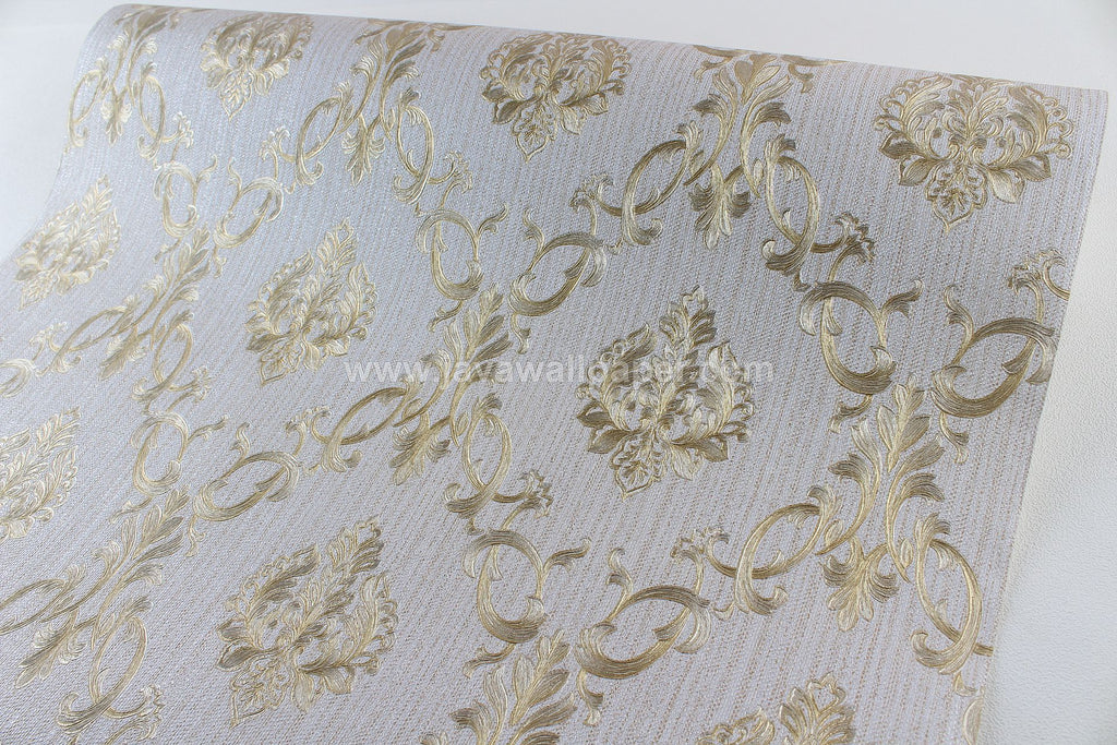 Wallpaper Dinding Batik Abu - Abu Gold CL D1801-6 - Java Wallpaper