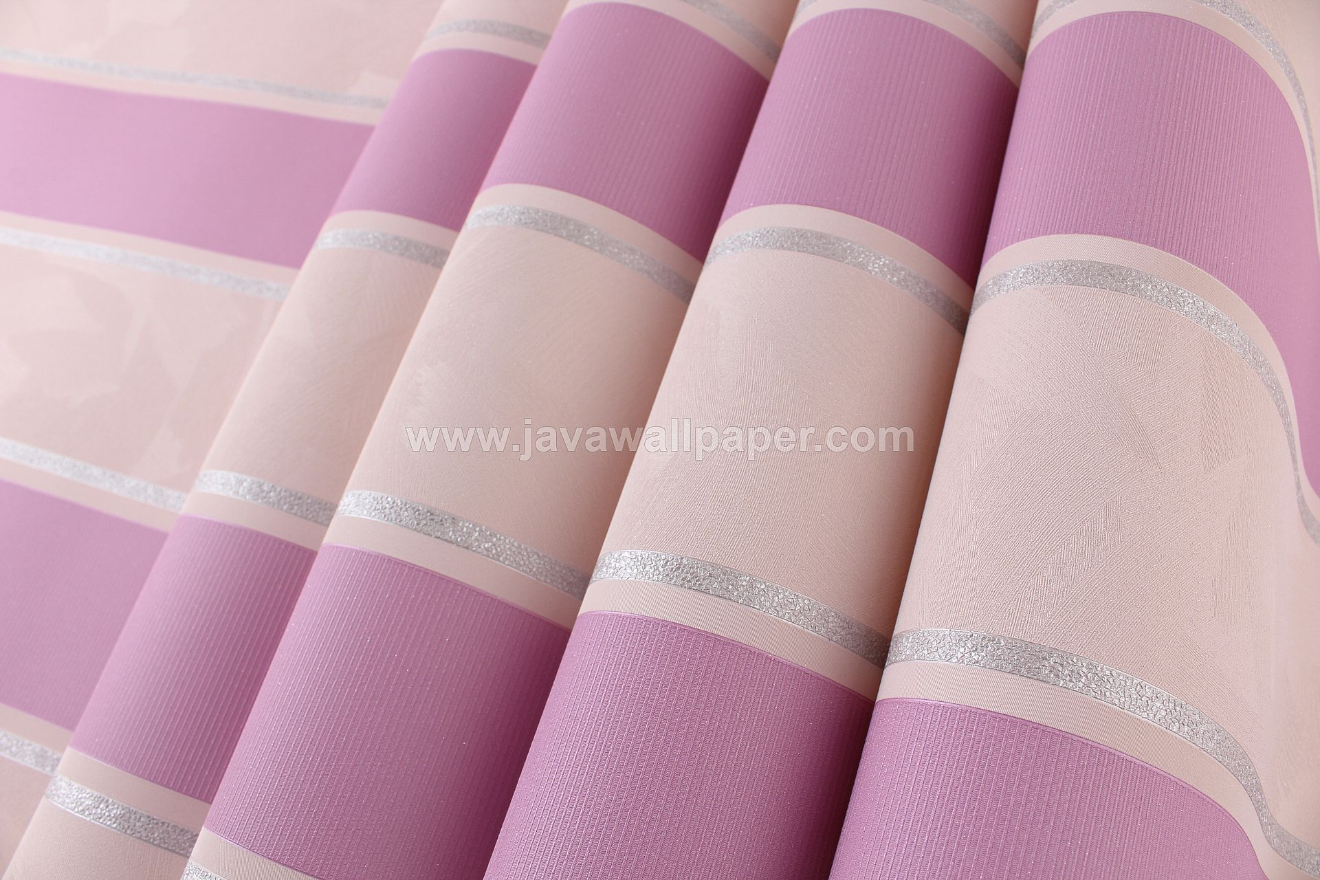 Wallpaper Dinding Garis Pink Ungu CL D2830-10 - Java Wallpaper