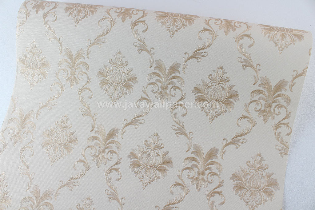 Wallpaper Dinding Batik Cream Gold CL D1804-3 - Java Wallpaper