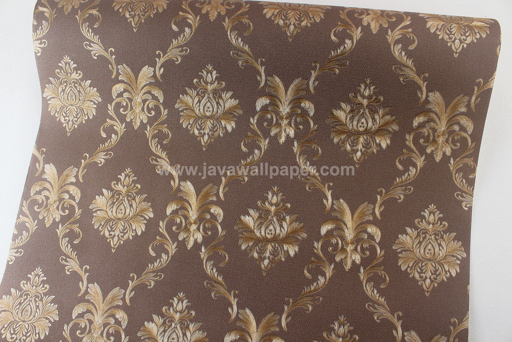 Wallpaper Dinding Batik Coklat Tua CL D1804-7 - Java Wallpaper
