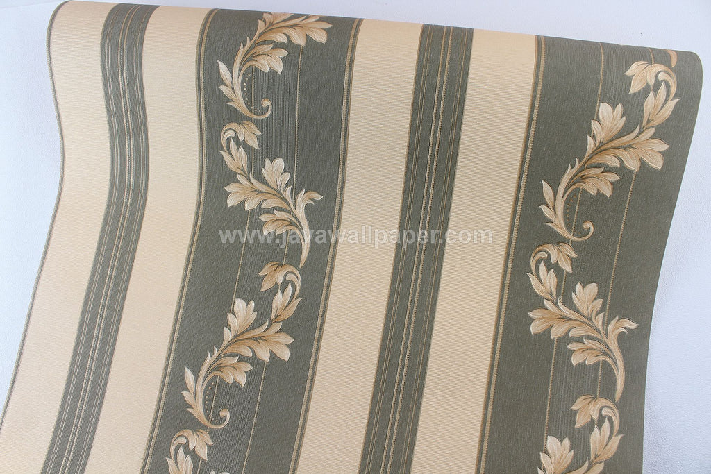 Wallpaper Dinding Batik Garis Hijau Tua Gold CL D1805-5 - Java Wallpaper