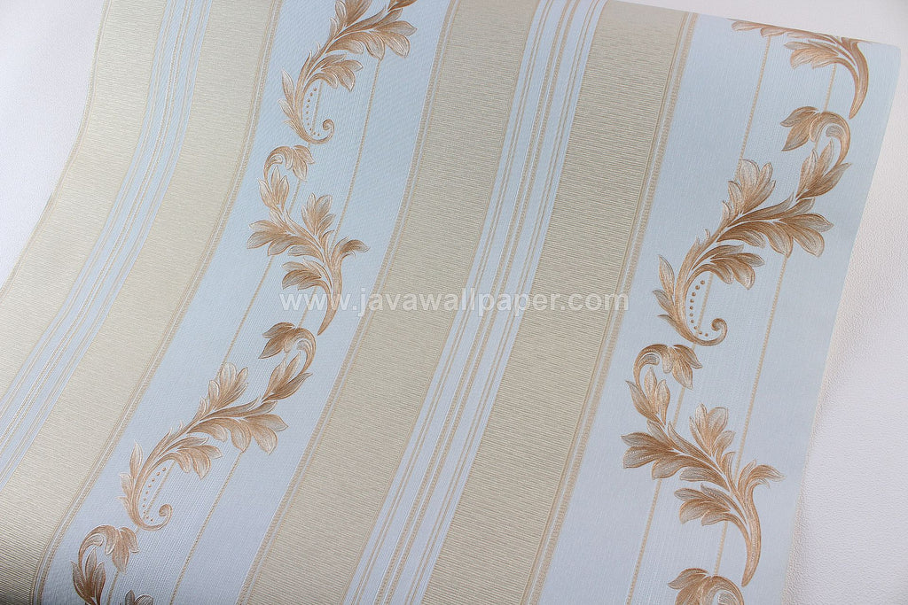 Wallpaper Dinding Batik Garis Biru Gold CL D1805-4 - Java Wallpaper