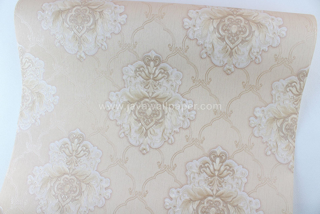 Wallpaper Dinding Batik Coklat Gold CL D2814-3 - Java Wallpaper