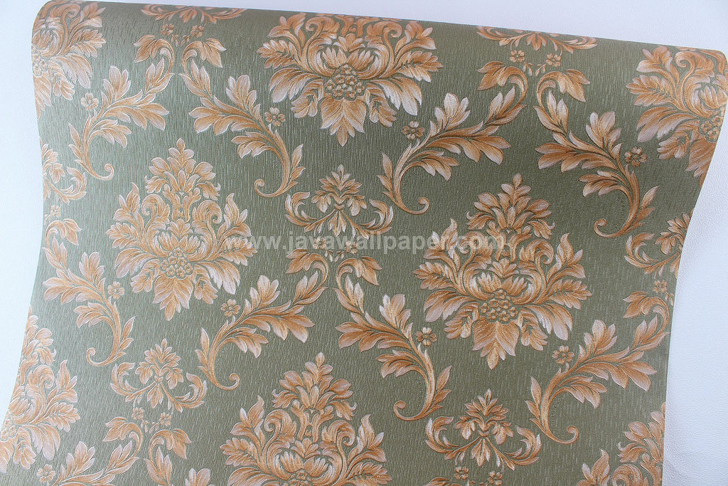 Wallpaper Dinding Batik Hijau Gold CL D1807-5 - Java Wallpaper