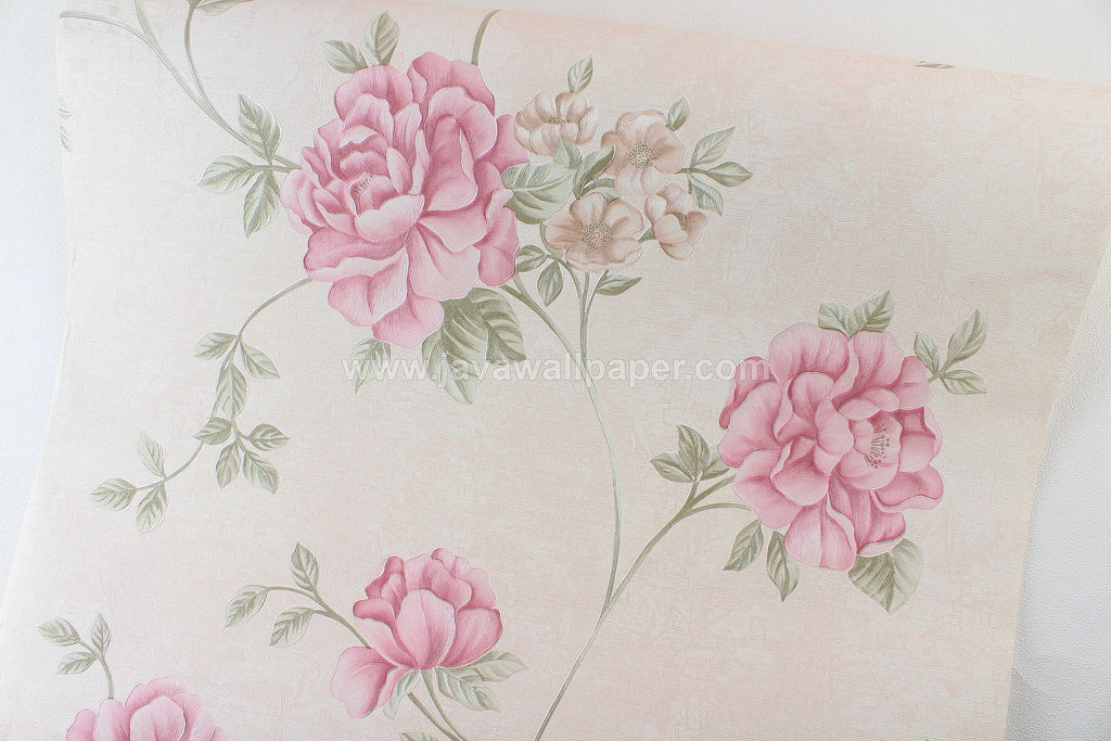 Wallpaper Dinding Bunga Cream Pink CL D2817-1