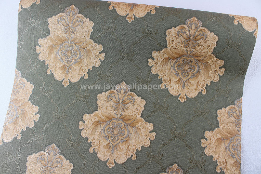 Wallpaper Dinding Batik Hijau Gold CL D2814-4 - Java Wallpaper