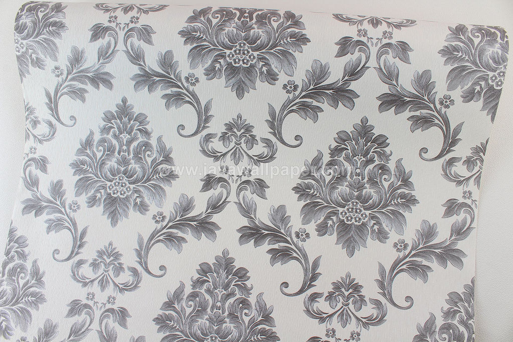 Wallpaper Dinding Batik Putih Silver CL D1807-7 - Java Wallpaper