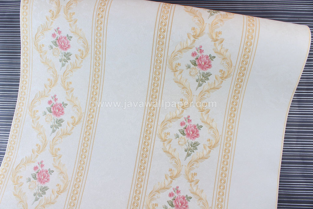 Wallpaper Dinding Garis Putih Gold Pink CL D888-2
