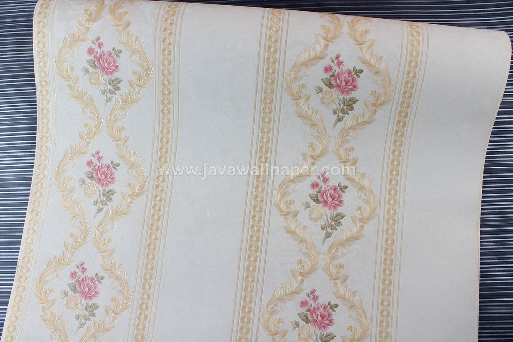 Wallpaper Dinding Garis Cream Gold Pink CL D888-3