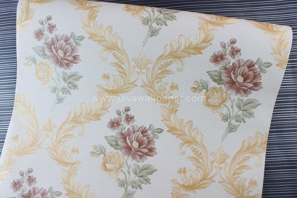 Wallpaper Dinding Bunga Cream Coklat Gold CL D8008-1