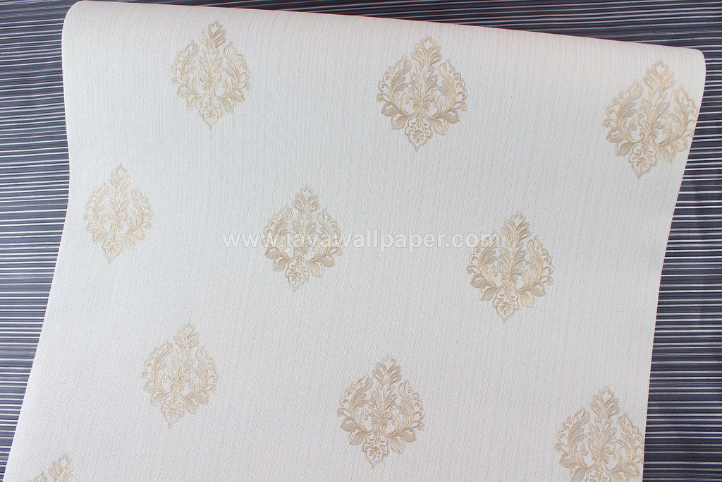Wallpaper Dinding Batik Putih Tulang Cream CL D1802-2