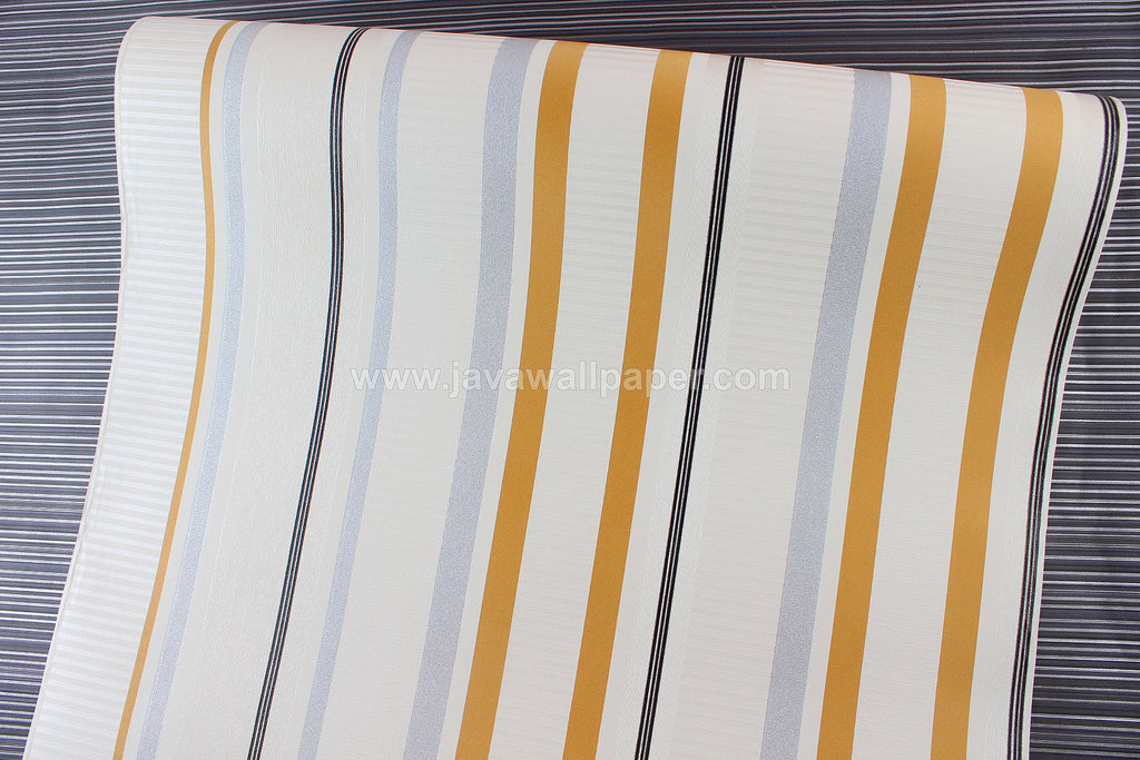 Wallpaper Dinding Garis Putih Gold Silver CL D2821-9