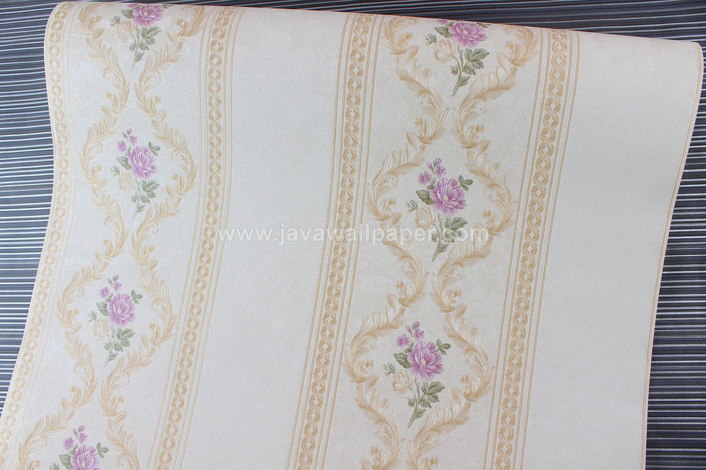 Wallpaper Dinding Garis Putih Gold Ungu CL D888-5