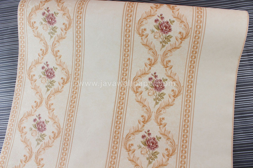 Wallpaper Dinding Garis Coklat Ungu Cream CL D888-1