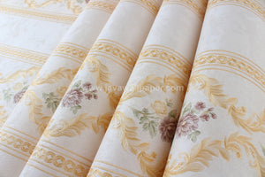 Wallpaper Dinding Garis Cream Gold Coklat CL D888-4 - Java Wallpaper