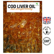 Load image into Gallery viewer, PREMIUM SUPER STRENGTH COD LIVER OIL 1000MG 60 CAPSULES OMEGA 3  PEAK HEALTH - Peak FX Nutrition
