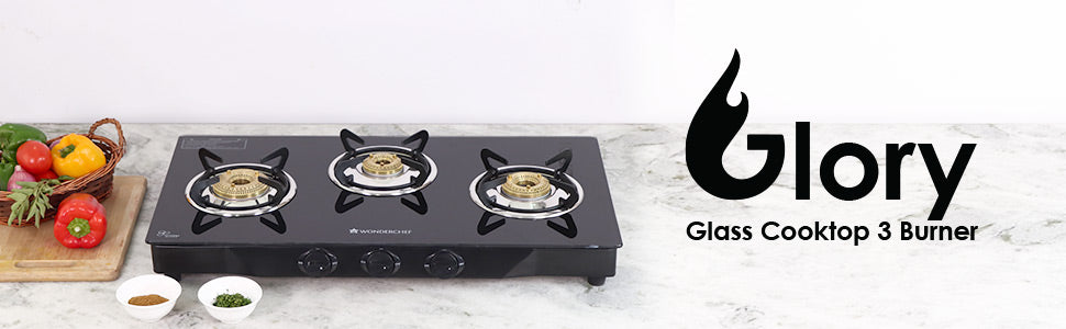 Glory 3 Burner Glass Cooktop, Black 8mm Toughened Glass with 2 Years Warranty, Ergonomic Knobs, Stainless Steel Drip Tray, Manual Ignition Gas Stove