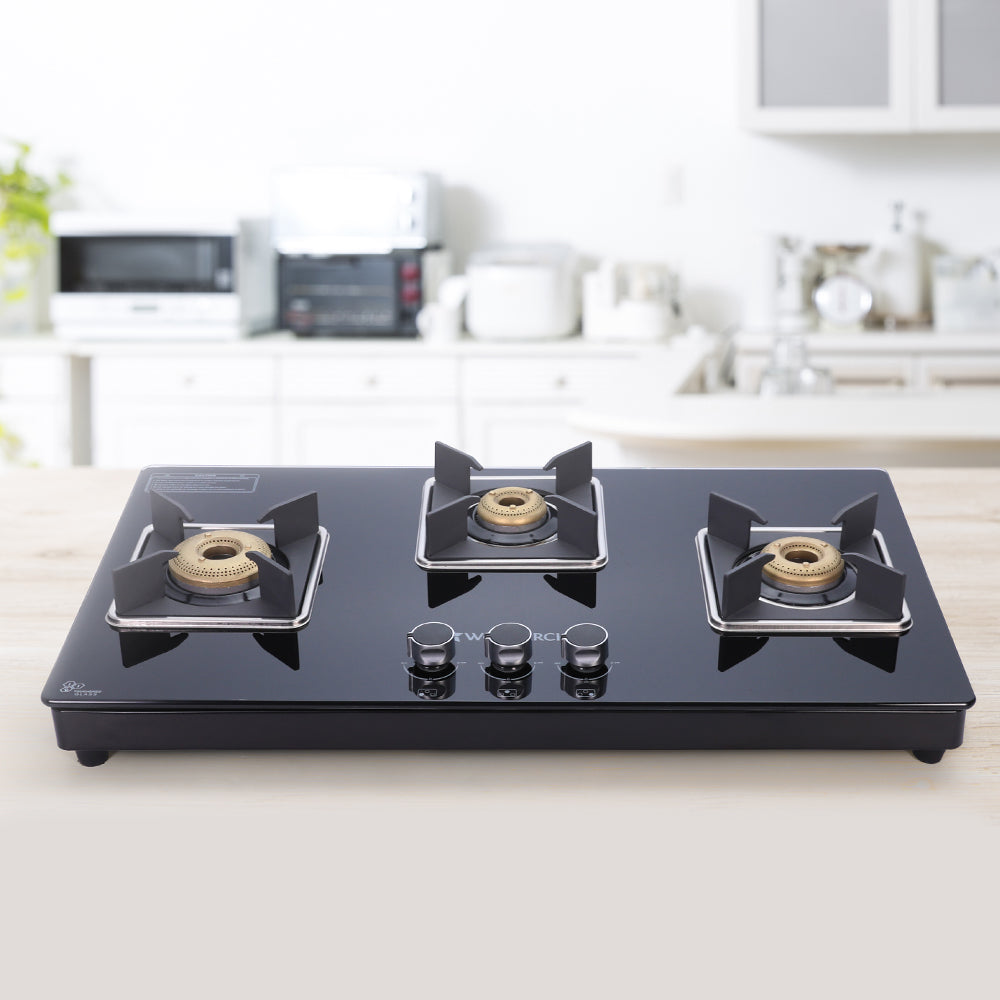 Octavia 3 Burner Glass Hob Top Cooktop, Black 8mm Toughened Glass with 2 Years Warranty, Ergonomic Knobs, Forged Brass Burners, Stainless Steel Drip Tray, Manual ignition
