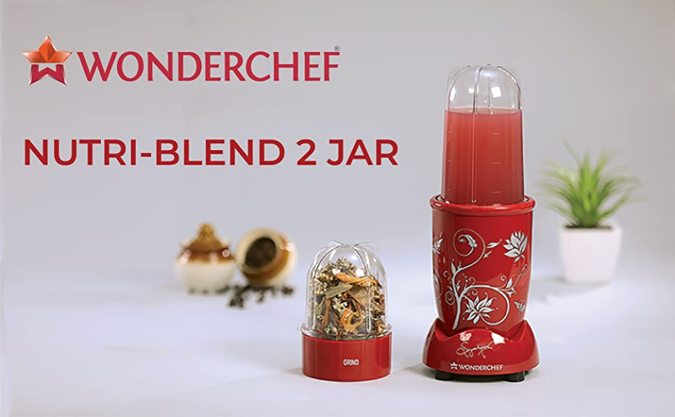 Nutri-blend, 22000 RPM Mixer-Grinder, Blender, SS Blades, 2 unbreakable Jars, 2 Years warranty, 400 W-Red, includes Exclusive Recipe book by Chef Sanjeev Kapoor