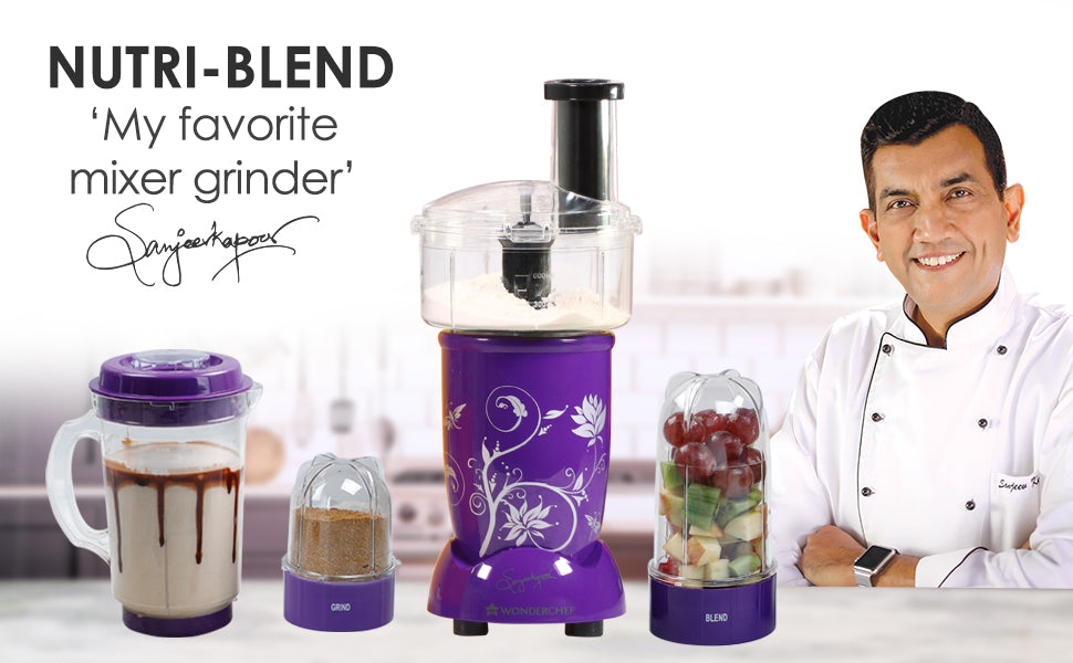 Nutri-blend Compact Food Processor with Atta Kneader, 400W, 22000 RPM Mixer-Grinder, Blender, Chopper, Juicer, SS Blades, 4 Unbreakable Jars, 2 Years Warranty, Purple, E-Recipe Book By Chef Sanjeev Kapoor
