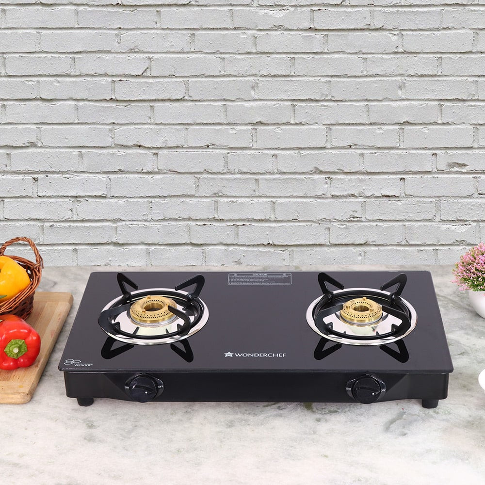 Glory 2 Burner Glass Cooktop, Stainless Steel Drip Tray, Black Toughened Glass with 2 Year Warranty,  Manual Ignition Gas Stove