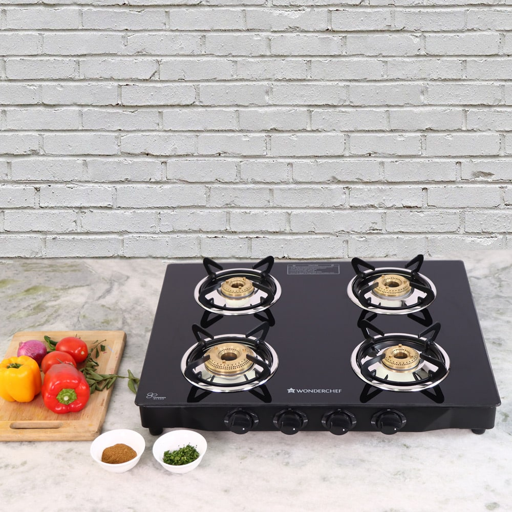 Glory 4 Burner Glass Cooktop, Black 8mm Toughened Glass with 2 Years Warranty, Ergonomic Knobs, Stainless Steel Drip Tray, Manual Ignition Gas Stove