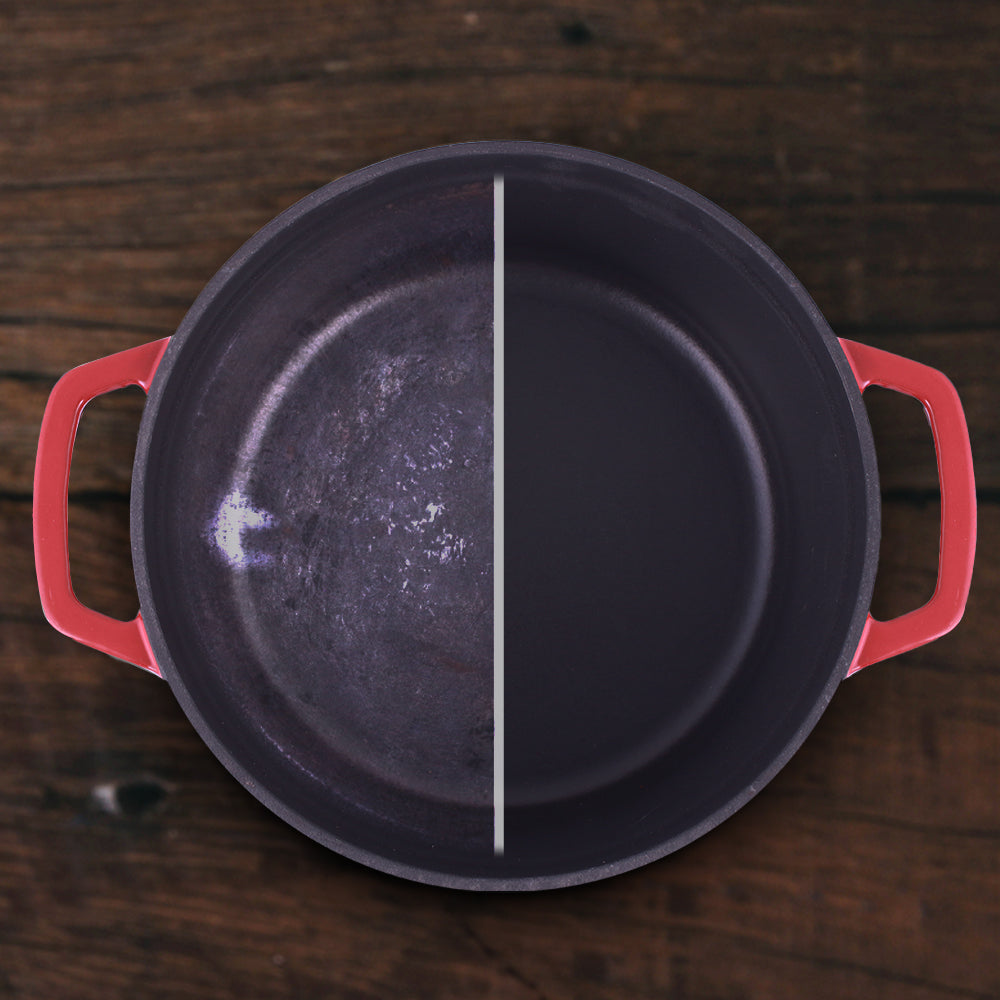 Ferro Cast-iron Casserole with Lid, 3.5mm, Red
