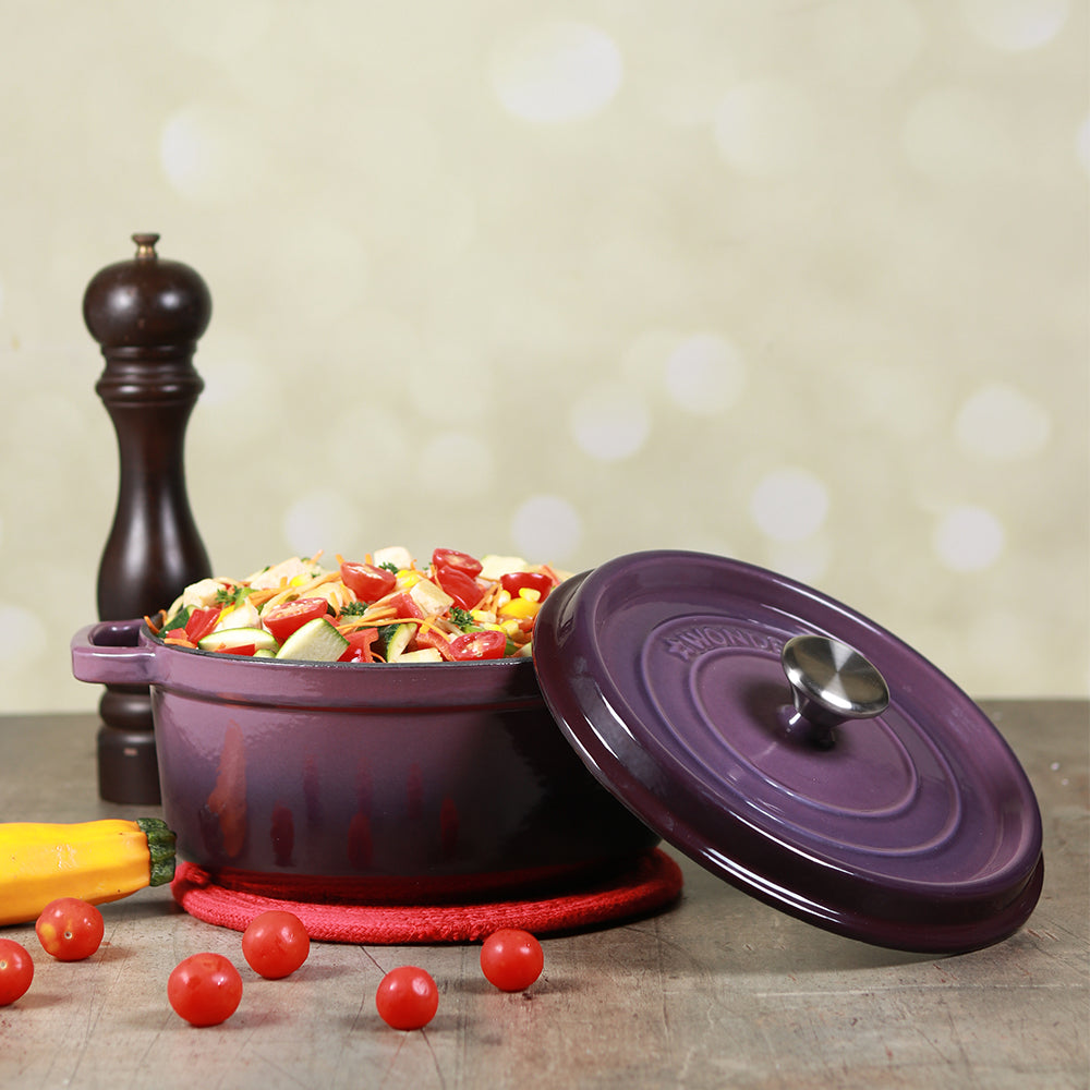 Ferro Cast-iron Casserole with Lid, 3.5mm, Purple