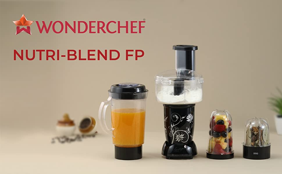 Wonderchef Nutri-Blend Compact FP (Mixer, Grinder, Chopper, Food Processor), 4 Jars