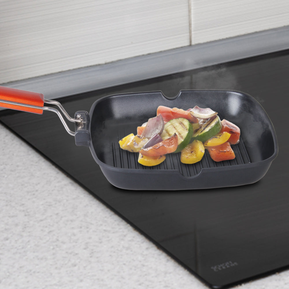 Caesar Folding Nonstick Grill Pan - 24cm, 5mm, Black