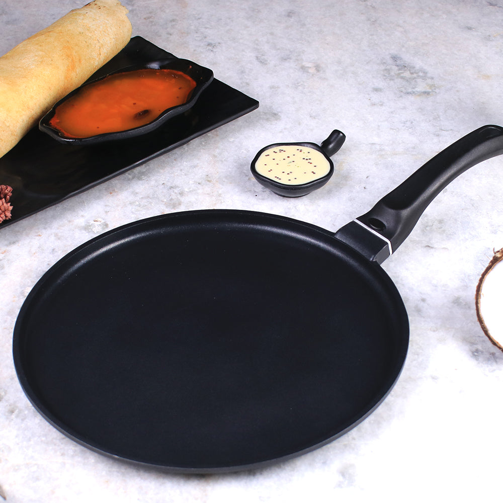 Inducta Die-cast Aluminium Nonstick Dosa Tawa- 28cm, 2.3mm Body,3.8mm Bottom, Black