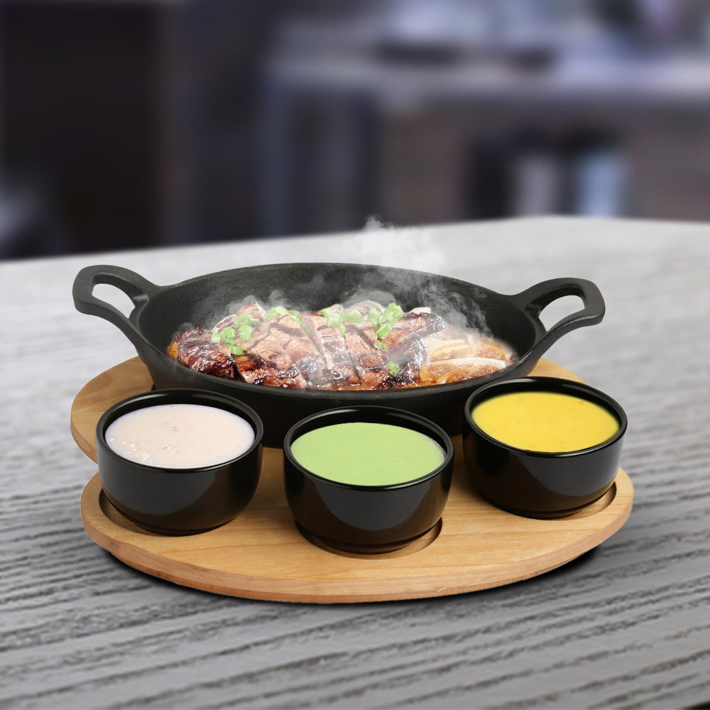 Ferro Cast-Iron Sizzler Plate With 3Pc Bowls, 22cm, Black