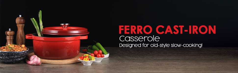 Ferro Cast-iron Casserole with Lid 3.5mm, Red