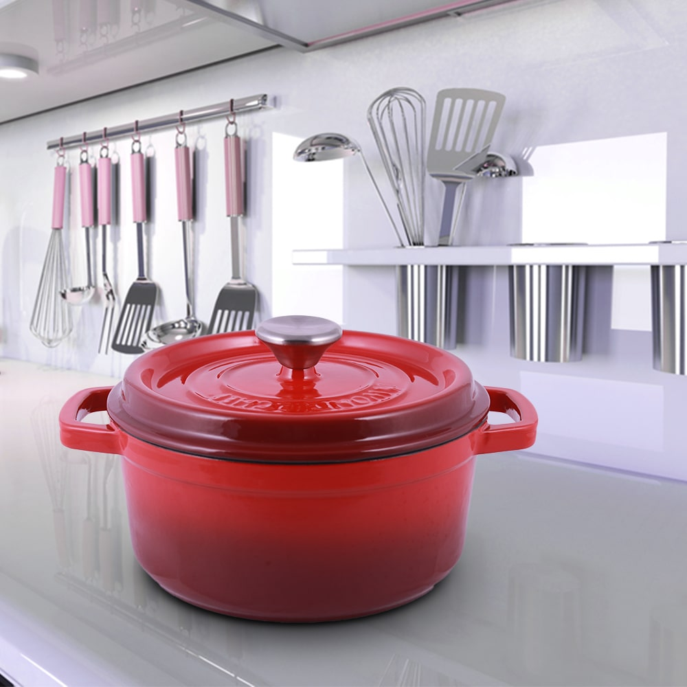 Wonderchef Ferro Cast-iron Casserole with Lid, 3.5mm, Red