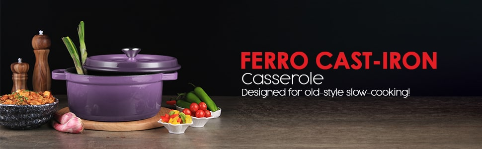 Ferro Cast-iron Oval Casserole with Lid- 29cm, 3.5mm
