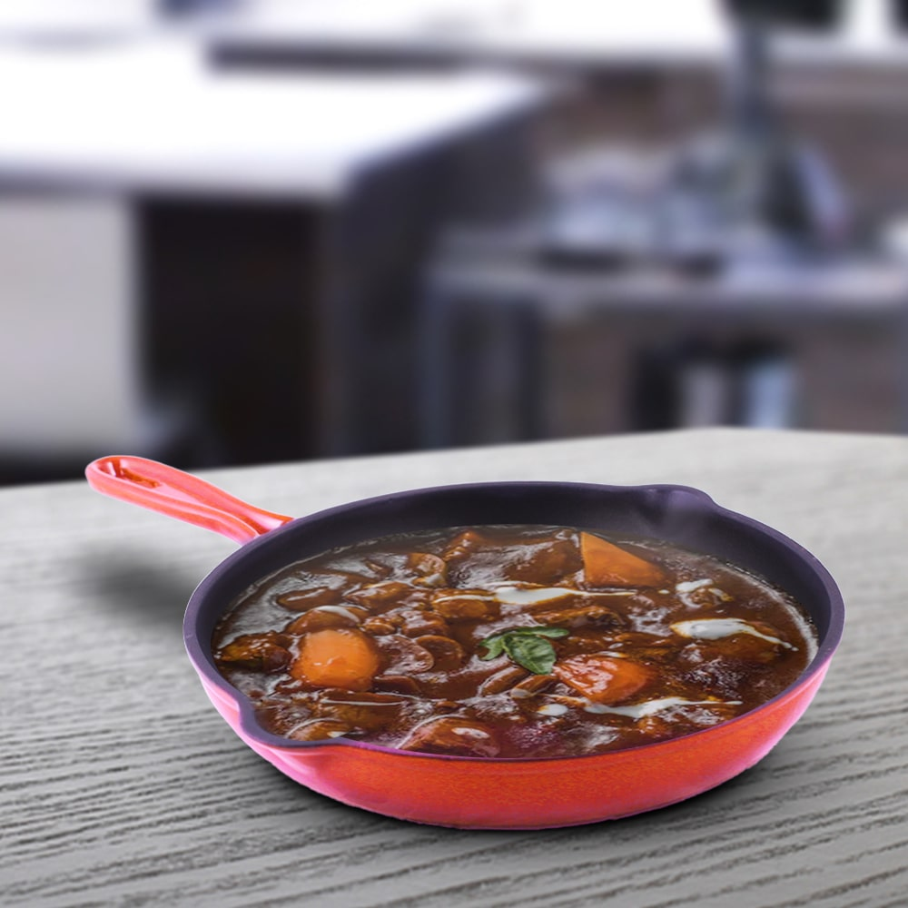 Ferro Cast-iron Frying Pan, Corrosion-Resistant Coating, Compatible on Induction- 26cm, 1.6L,  5 Years Warranty, Red