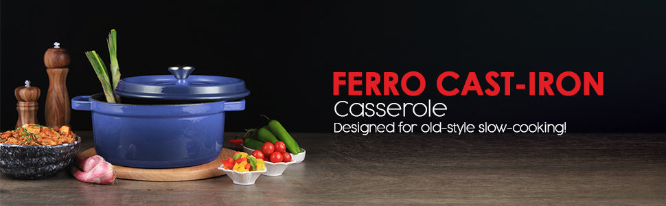 Ferro Cast-iron Casserole with Lid - 26cm, 5L, 3.5mm, Blue