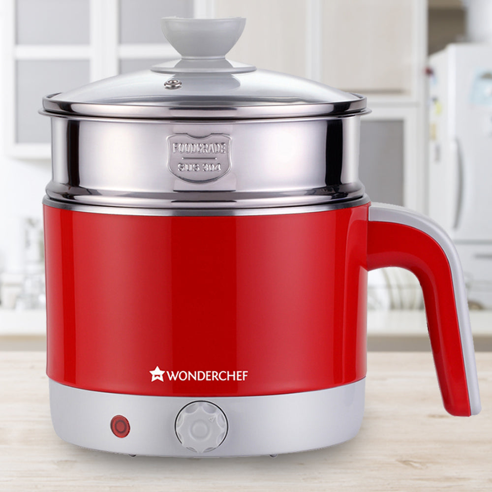 Wonderchef Luxe Multicook Kettle Red 1.2 Litre