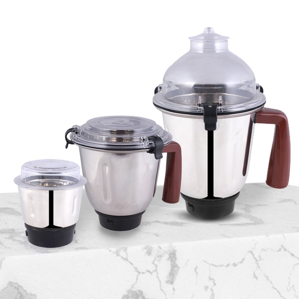 Amalfi 800W Mixer Grinder with 3 Jars (White & Brown)
