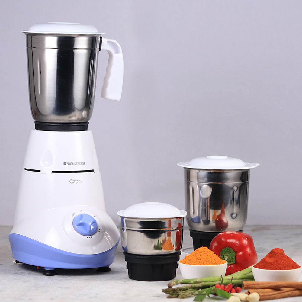 Capri 500W Mixer Grinder with 3 Jars (Blue)