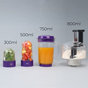 Nutri-Blend Compact Food Processor, 22000 RPM Mixer-Grinder, Blender, Chopper, Juicer, Food Processor, SS Blades, 4 Unbreakable Jars, 2 Years Warranty, 400 W-Purple, Includes Exclusive Recipe Book By Chef Sanjeev Kapoor