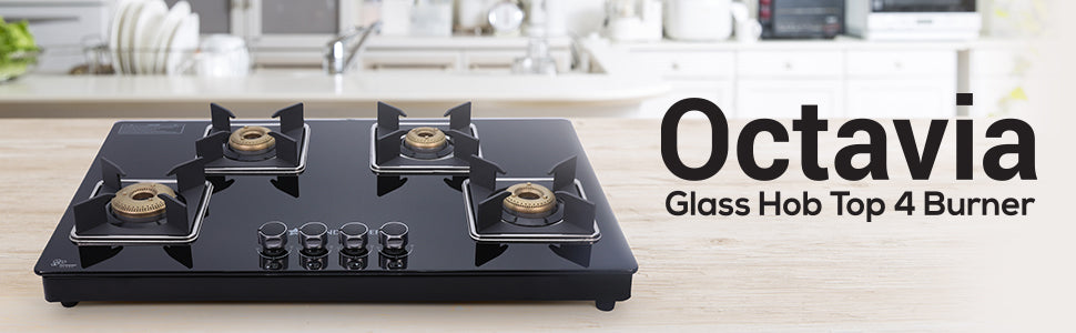 Octavia 4 Burner Glass Hob Top Cooktop, Black 8mm Toughened Glass with 2 Years Warranty, Ergonomic Knobs, Forged Brass Burners, Stainless Steel Drip Tray, Manual ignition