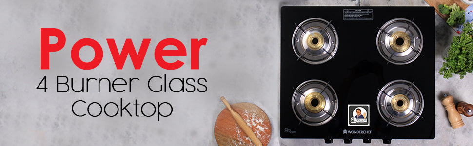 Wonderchef Power 4 Burner Glass Cooktop