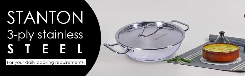 Stanton Impact Bottom Stainless Steel Kadhai with SS Lid - 20 cm,1.5L, 2.6 mm