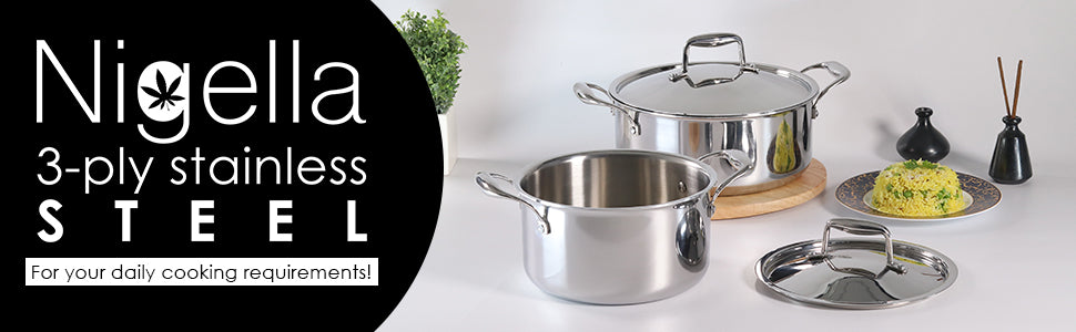 Nigella 3-ply Stainless Steel Casserole- 24cm, 4.8L, 2.6mm