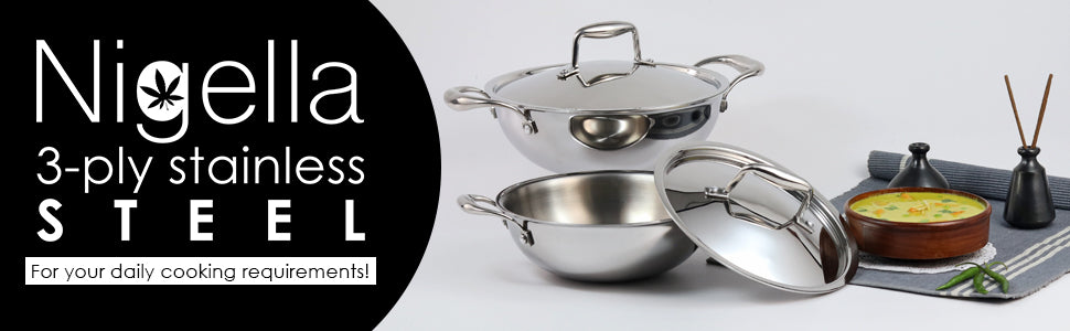 Nigella 3-Ply Stainless Steel Kadhai 24cm, 2.2L, 2.6mm