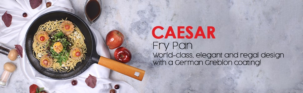Wonderchef Caesar Aluminium Nonstick Frying Pan With Wooden Handle - 26Cm